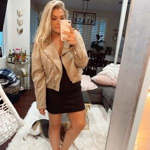 Suede jacket with silver zippers